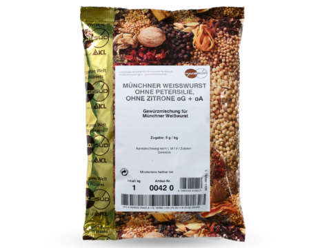Gewürzmischung für Weißwurst ohne Petersilie von Hagesüd, 1kg Packung