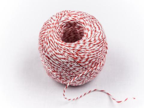 Bindfaden rot-weiß, 3-fach