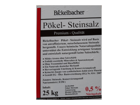 Bickelbacher Pökel-Steinsalz, 1kg, 0,5% Nitritgehalt